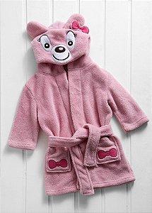 Manta Roupão Infantil Microfibra Ursa Rosa Baby Zoo Corttex