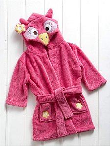 Manta Roupão Infantil Microfibra Coruja Pink Baby Zoo Corttex