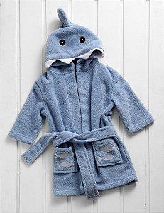 Manta Roupão Infantil Microfibra Tubarão Azul Baby Zoo Corttex
