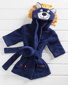 Manta Roupão Infantil Microfibra Leão Azul Baby Zoo Corttex