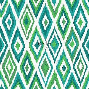 Papel de parede Cabana Losangos Creme Verde e Azul - 140-148632
