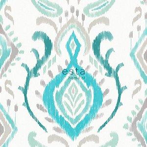 Papel de parede Cabana Brasões Creme , Verde Tiffany e Marrom Claro - 140-148646