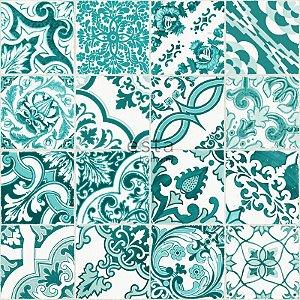 Papel de parede Cabana PatchWork Creme e Verde Tiffany - 140-148635