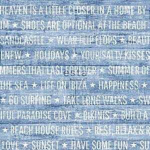 Papel de parede Cabana Escritas Clássicas Azul - 140-148643