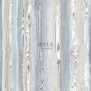 Papel de parede Cabana Estilo Madeira Marrom e Azul - 140-148626