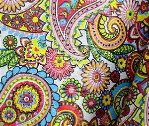 Tecido Corino Indiano Colorido texturizado fundo Branco