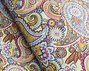 Tecido Corino Indiano Colorido texturizado fundo Bege