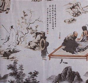 Papel de parede Neonature Toile de Jouy Estilo Chinês Azul Bebê PR-0213