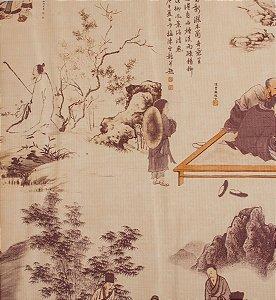 Papel de parede Neonature Toile de Jouy Estilo Chinês Areia PR-0211