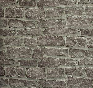 Papel de parede Neonature Estilo Tijolos Assimétricos Cinza PR-8034