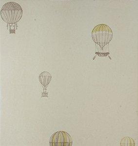 Papel de parede Ola Baby Branco Liso com Balões Verdes FA-39004