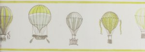 Papel de parede Ola Baby Faixinha Creme Liso Com Balões Verde FA-39004B