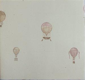 Papel de parede Ola Baby Branco Liso com Balões Rosa e Bege FA-39002