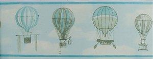 Papel de parede Ola Baby Faixinha Azul Claro com Balões e Nuvens Brancas FA-39003B