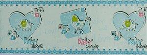 Papel de parede Ola Baby Faixinha Azul bebê com Corações e Elefantinhos FA-38802B