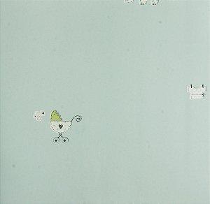 Papel de parede Ola Baby Azul Claro com Elefantes e Carrinhos de Bebê FA-38801