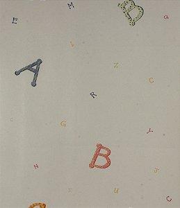 Papel de parede Ola Baby Branco Liso Com Alfabeto Colorido FA-83501