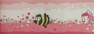 Papel de parede Ola Baby Faixinha Tons de Rosa com Peixes FA-38701B
