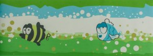 Papel de parede Ola Baby Faixinha Tons de Verde, Braco e Azul com Peixes FA-38704B