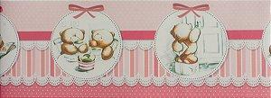 Papel de parede Ola Baby Faixinha Rosa com Ursinho FA-38401B