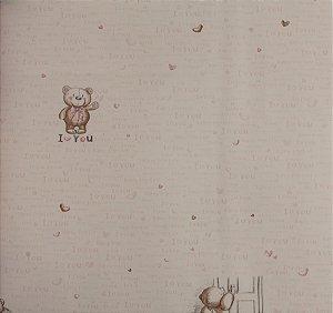 Papel de parede Ola Baby Nude com Ursinhos e Corações FA-38401
