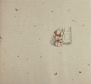 Papel de parede Ola Baby Amarelo Claro com Ursinhos e Corações FA-38402