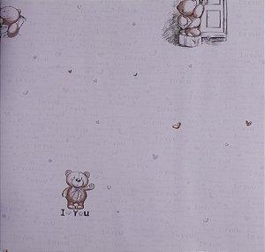 Papel de parede Ola Baby Azul Claro com Ursinhos e Corações FA-38403