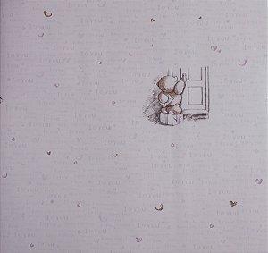 Papel de parede Ola Baby Lilás com Ursinhos e Corações FA-38404