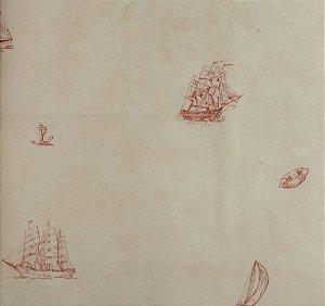 Papel de parede Ola Baby Creme com Barcos, Âncoras, Lemes Boias Bordô FA-38201
