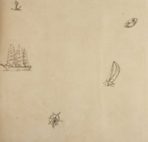 Papel de parede Ola Baby Bege com lemes, Âncoras, Boias e Barcos Grafite FA-38203