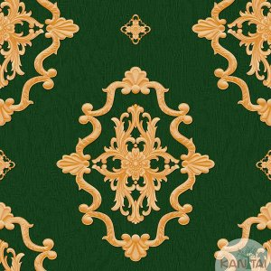 Papel de parede Barcelona Verde com Brasões Dourados BC-380004