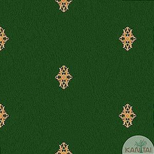 Papel de parede Barcelona Verde com Mini Brasões Dourados BC-380106