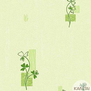 Papel de parede Barcelona Texturizado Creme com Ramos Verdes BC-381602