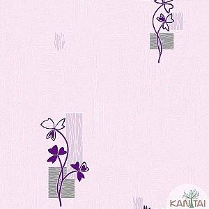 Papel de parede Barcelona Texturizado Lilás com Ramos Roxo BC-381603