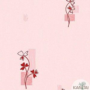 Papel de parede Barcelona Texturizado Rosa Claro com Ramos Pink BC-381604