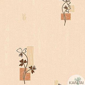Papel de parede Barcelona Texturizado Cappuccino com Ramos Marrom BC-381601