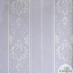 Papel de parede Barcelona Listrado Cinza e Branco com Brasões Prata BC-381702