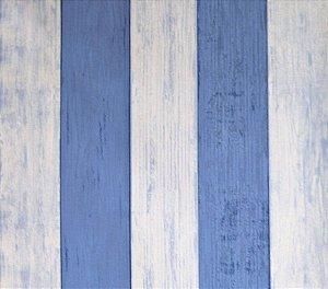 Papel de parede Barcelona Estilo Madeira Azul Claro e Azul Escuro BC-381203