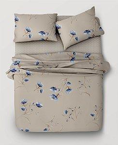 Jogo de Cama 150 fios Floral Bege e Azul Lívia B  - Casal 4 peças Corttex