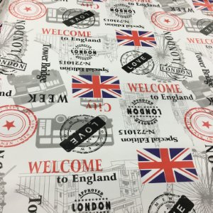 Tecido Corino Londres Fundo Branco colorido