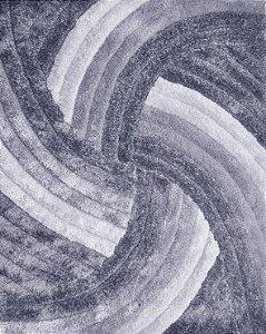 Tapete De Sala 3D 1,00x1,50 Cm Pelo Alto Degrade Macio Helice Cinza