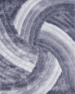 Tapete De Sala 3D 2,00x2,50 Cm Pelo Alto Degrade Macio Helice Cinza