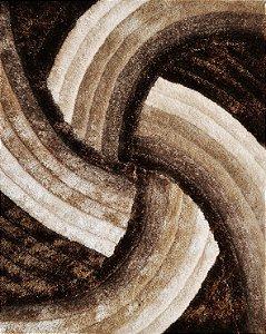 Tapete De Sala 3D 1,00x1,50 Cm Pelo Alto Degrade Macio Helice Marrom Com Bege