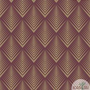 Papel de parede New Form Estilo Geométrico Vinho e Dourado - NF-630408