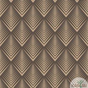 Papel de parede New Form Estilo Geométrico Marrom e Dourado - NF-630406