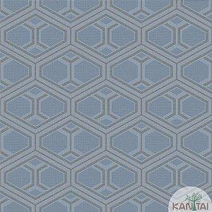 Papel de parede New Form Formas Geométricas Azul Jeans e Prata - NF-630304