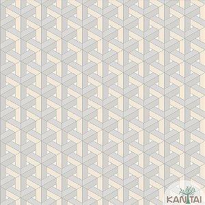 Papel de parede New Form Estilo Geométrico 3D Creme - NF-630101