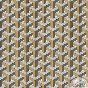 Papel de parede New Form Estilo Geométrico 3D Marrom e Cinza - NF-630105