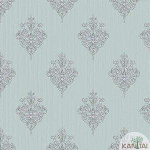 Papel de parede New Form Verde Acqua e Prata - NF-630504