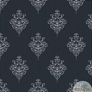 Papel de parede New Form Azul Jeans e Prata - NF-630508